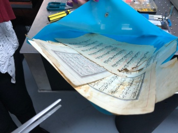 Pages from an ancient copy of the Koran, from Iran.