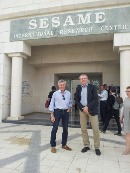 Arrival at SESAME with a colleague from Munich. The entrnce gate of the accelerator in ancient greek-roman style.
