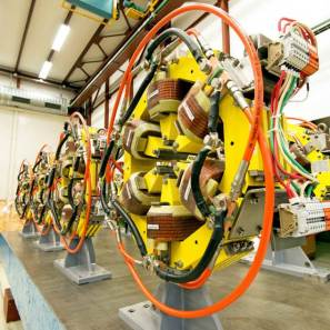 Focussing magnets to direct the electron beam.